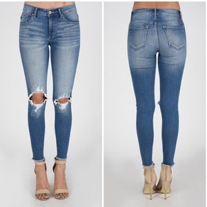 Denim - Distressed Ripped Knee Skinny Stretch Jeans